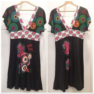 Desigual | Deep V Neck Picnic Pattern Dress